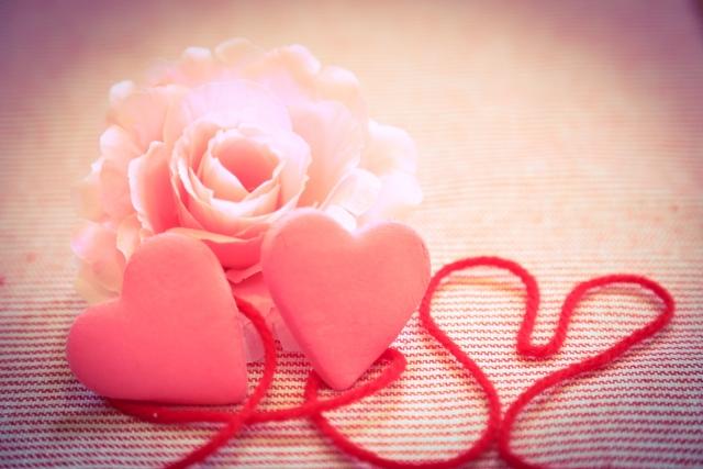 ハートとお花と赤い糸